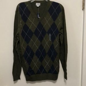 Argyle patterned sweater army green and navy